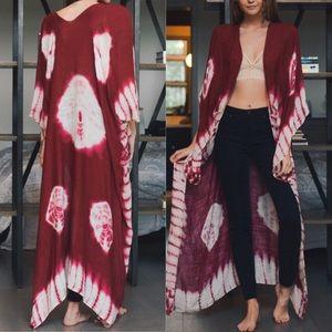 KILEY✨ tie dye boho kimono wrap berry red white